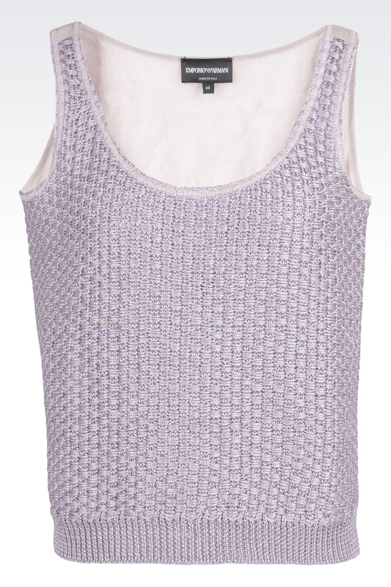 Linen blend top : Sleeveless tops Women by Armani - 0
