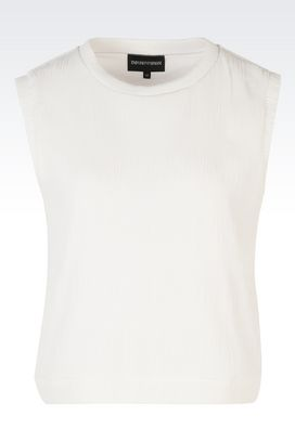 Armani Sleeveless tops Women plissé jersey top
