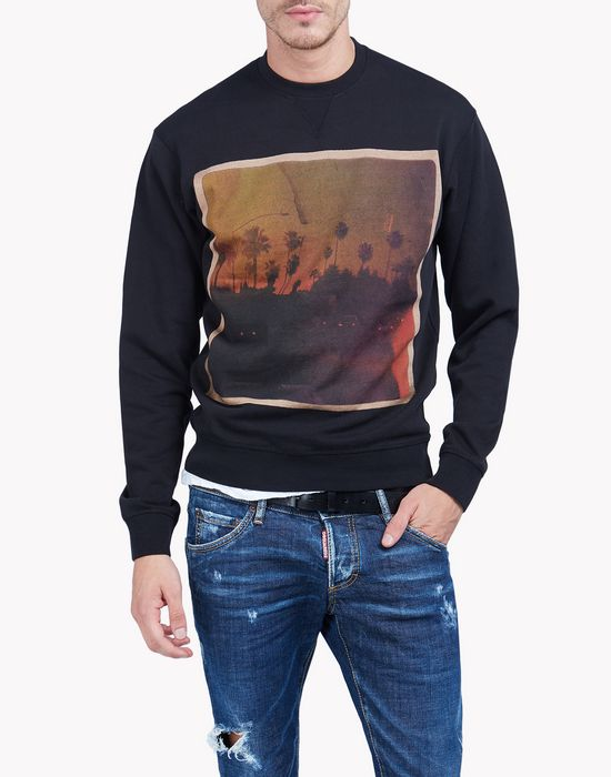 printed cotton fleece sweatshirt top wear Man Dsquared2
