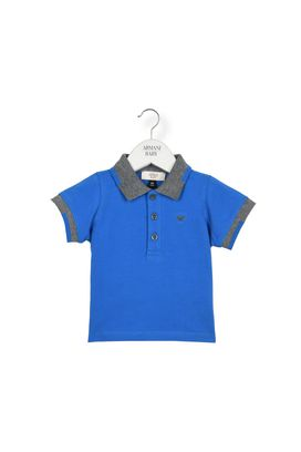 Armani Polos Men two tone jersey polo shirt with three-button fastening