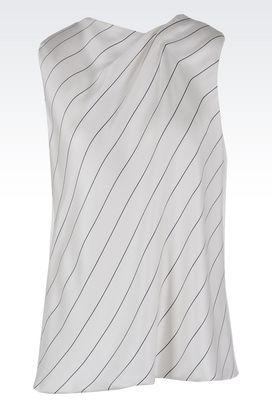 Armani Camicie Donna top in jersey di misto seta con drappeggio