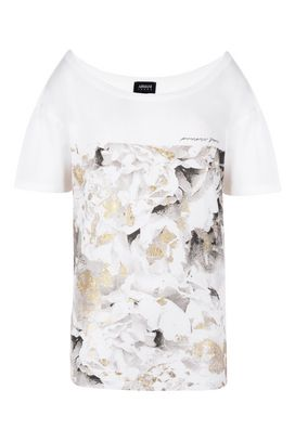 Armani Tshirt stampate Donna t-shirt in cotone modal con stampa floreale