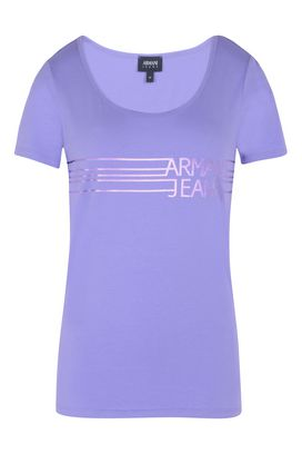 Armani Print t-shirts Women jersey t-shirt with laminated logo