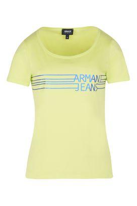 Armani Tshirt stampate Donna t-shirt in jersey di cotone stretch con logo laminato