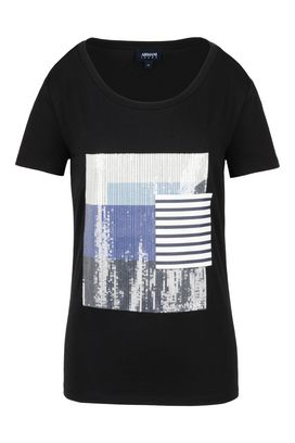Armani Print t-shirts Women jersey t-shirt with sequins and stripes