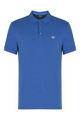 Armani Short-sleeved polos Men cotton pique polo shirt with rear logo