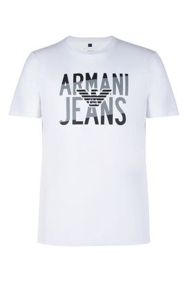 Armani Print t-shirts Men cotton crew neck t-shirt with two tone logo