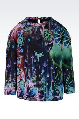 Armani Sweatshirts Women crew neck sweatshirt with three-quarter length sleeves
