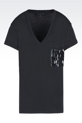 Armani Short-sleeve t-shirts Women v-neck cotton t-shirt with sequins