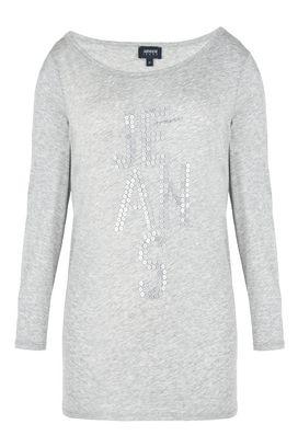 Armani Felpe Donna maglia in cotone pima modal con logo paillettes
