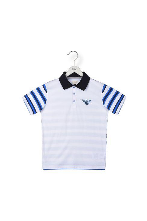 衣袖,背面条纹设计平纹针织 polo 衫: 短袖polo衫 男士 by armani - 1