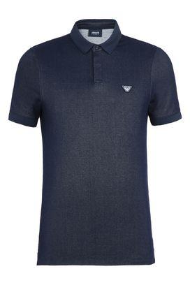 Armani Short-sleeved polos Men cotton blend denim polo shirt