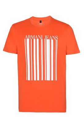 Armani Print t-shirts Men barcode print cotton crew neck t-shirt