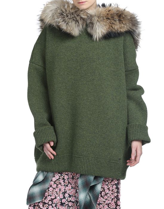 oversize wool hooded sweater camisetas y tops Mujer Dsquared2