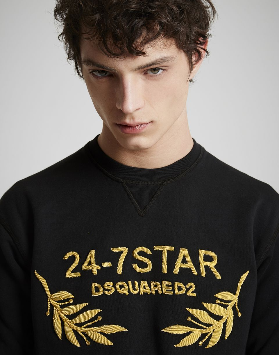 dsquared2 24 7 star fleece sweatshirt black sweatshirts for men official store. Black Bedroom Furniture Sets. Home Design Ideas