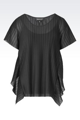 Armani Short-sleeved tops Women tulle blouse with jersey top