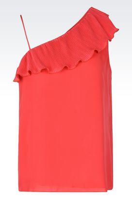 Armani Top Donna top in georgette di pura seta con volant plissé