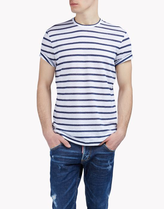 striped linen t-shirt tops & tees Man Dsquared2