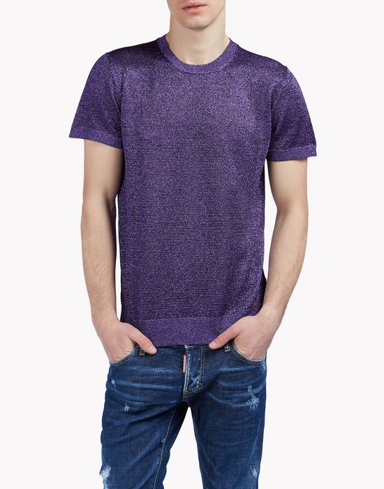metallic knit shirt camisetas y tops Hombre Dsquared2