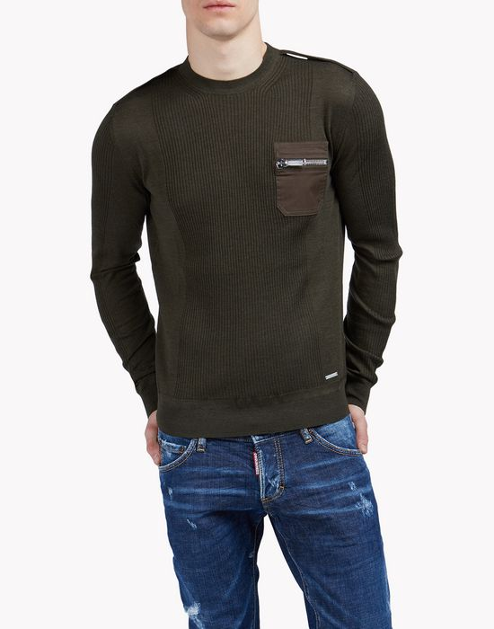 pocket knit sweater tops Homme Dsquared2