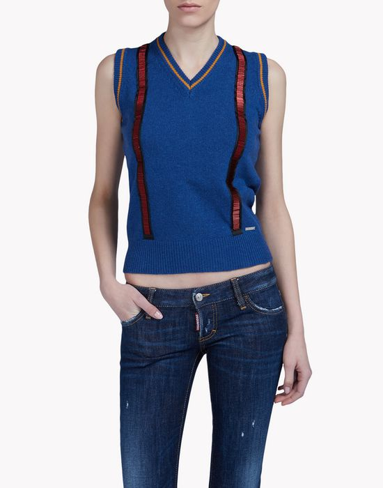 suspender-embellished wool vest tops & tees Woman Dsquared2
