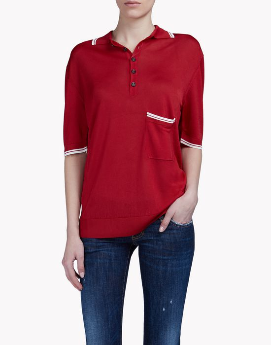 pocket knit polo shirt top wear Woman Dsquared2