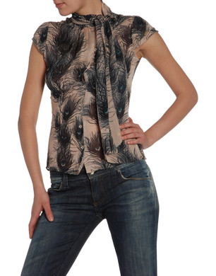 Miss Sixty Feather Print Shirt without sleeves.