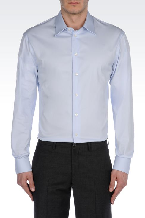 STRETCH COTTON SHIRT: Long sleeve shirts Men by Armani - 2