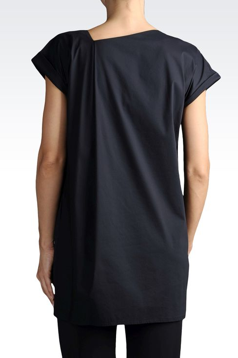 BLOUSE IN STRETCH COTTON WITH ASYMMETRIC NECK: Blouses Women by Armani - 2