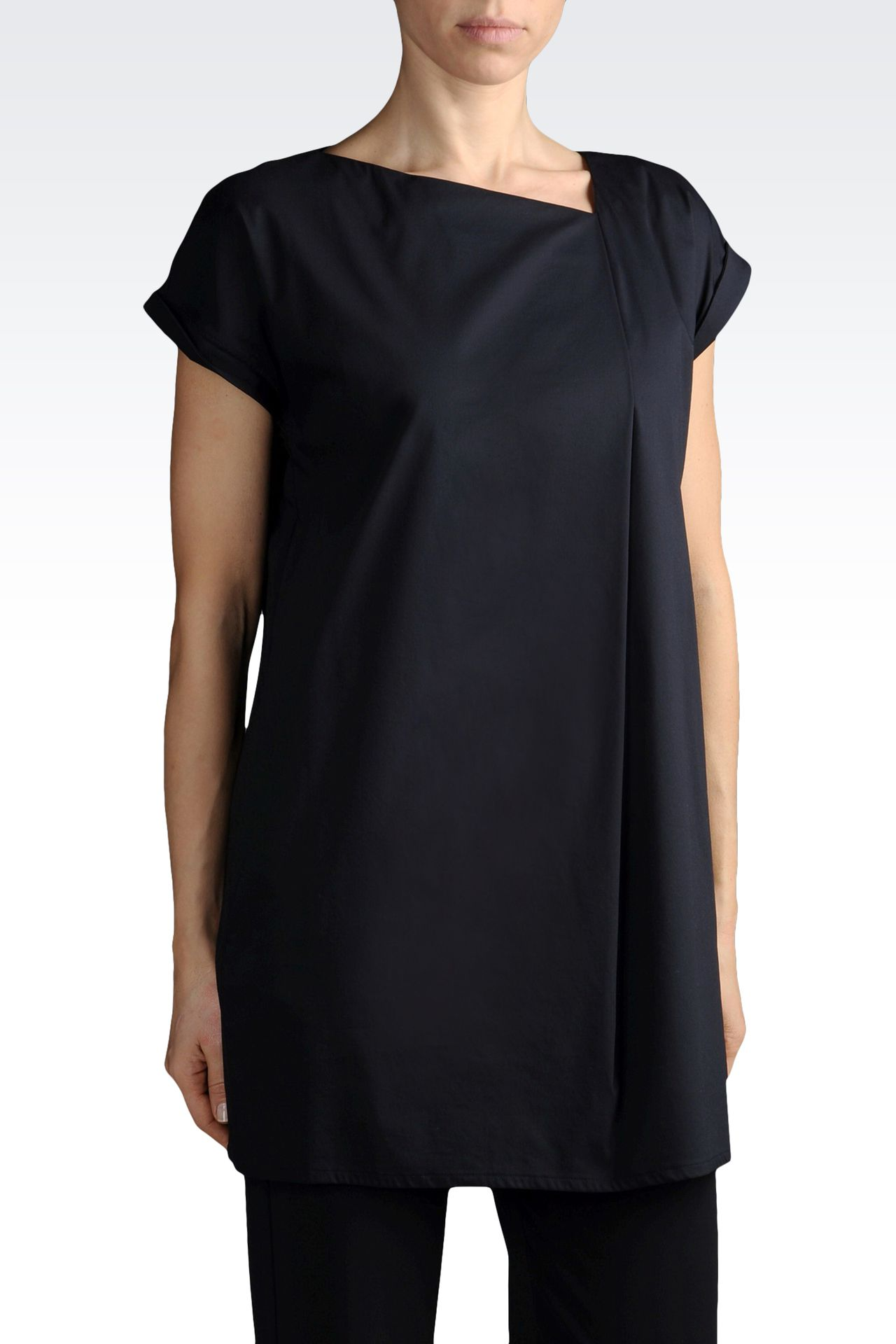BLOUSE IN STRETCH COTTON WITH ASYMMETRIC NECK: Blouses Women by Armani - 0