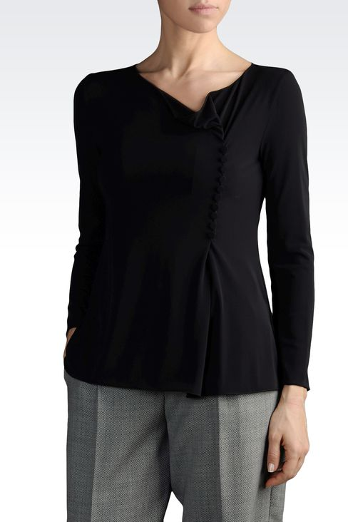 JERSEY KNIT WITH ASYMMETRIC NECKLINE: Blouses Women by Armani - 1