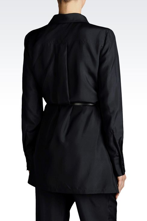 SILK BLOUSE WITH ITALIAN COLLAR AND BELT: Blouses Women by Armani - 2