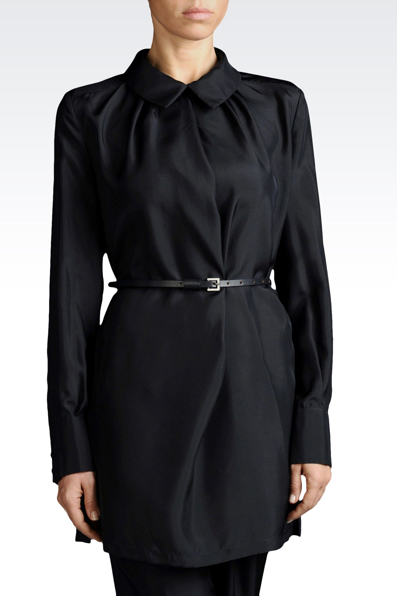 SILK BLOUSE WITH ITALIAN COLLAR AND BELT: Blouses Women by Armani - 0