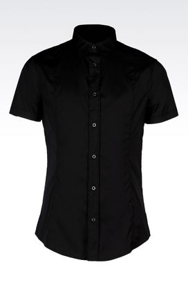 Armani Short sleeve shirts Men extra slim fit shirt in poplin
