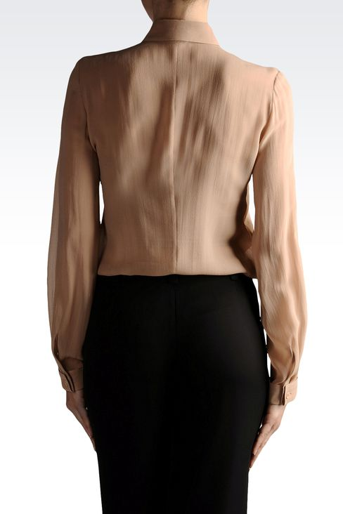 chiffon shirt with French collar: Long sleeve shirts Women by Armani - 2