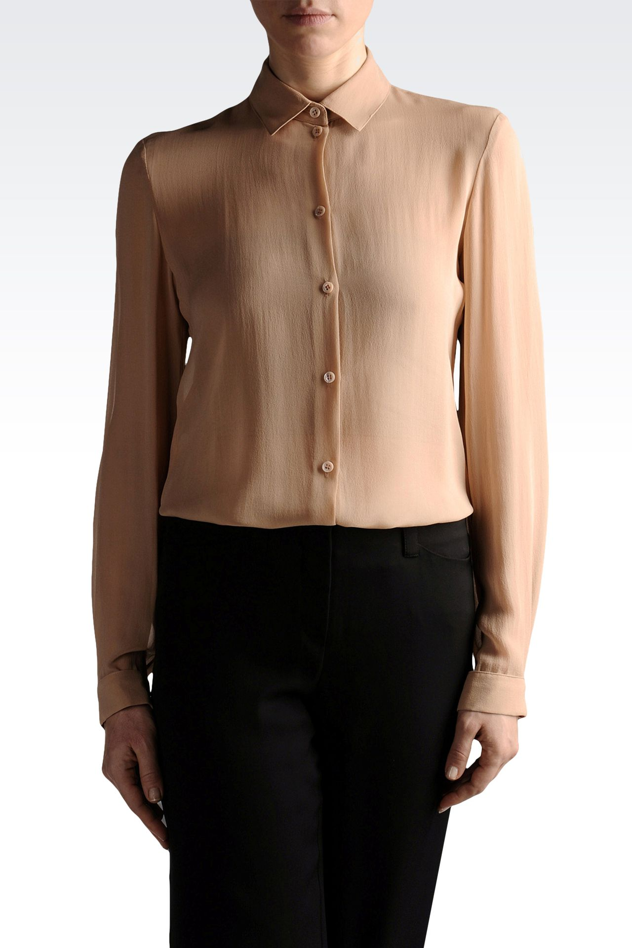 chiffon shirt with French collar: Long sleeve shirts Women by Armani - 0