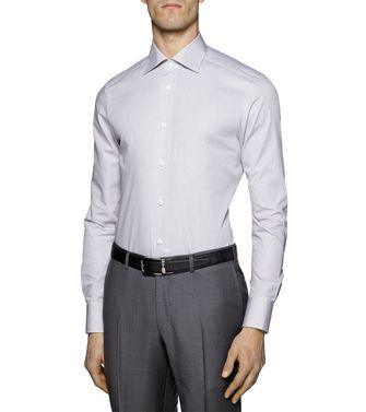 ERMENEGILDO ZEGNA: Formal Shirt Khaki - Blue - 38323607FR