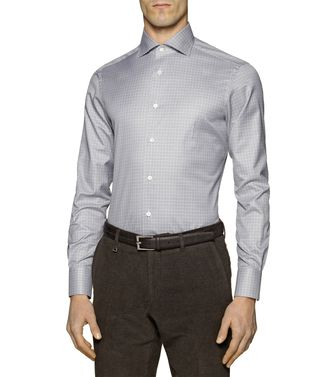 ERMENEGILDO ZEGNA: Formal Shirt Khaki - Blue - 38323611KN