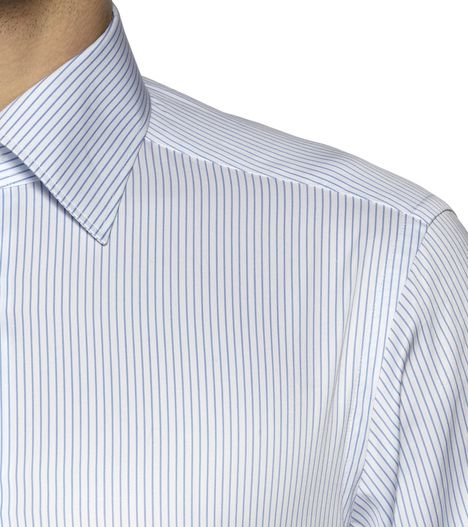 ERMENEGILDO ZEGNA: Formal Shirt Plain weave Italian collar Dual button Blue, Detail 2 - 38323616BL