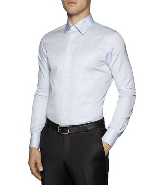 ERMENEGILDO ZEGNA: Formal Shirt Khaki - Blue - 38323616BL