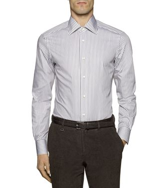 ERMENEGILDO ZEGNA: Formal Shirt Grey - Brown - 38323640EV