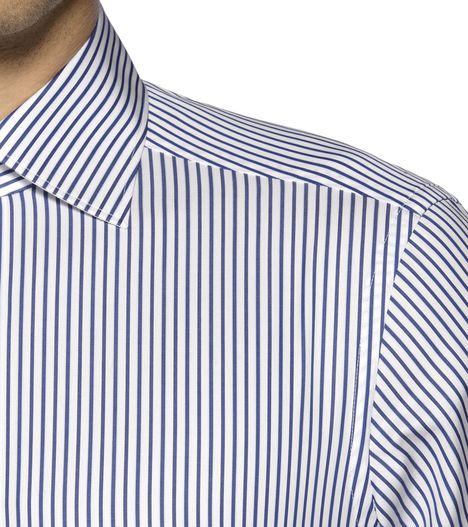 ERMENEGILDO ZEGNA: Casual Shirt Plain weave Italian collar Dual button Blue, Detail 2 - 38323641CB