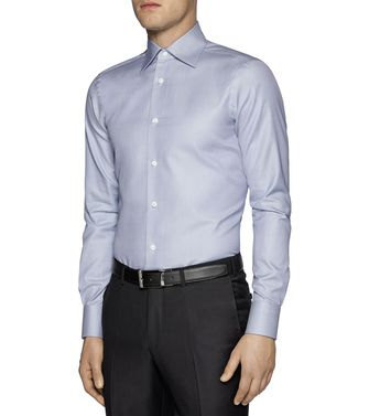 ERMENEGILDO ZEGNA: Formal Shirt Grey - Brown - 38323643PI