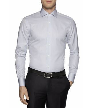 ERMENEGILDO ZEGNA: Formal Shirt Grey - Brown - 38323644OD