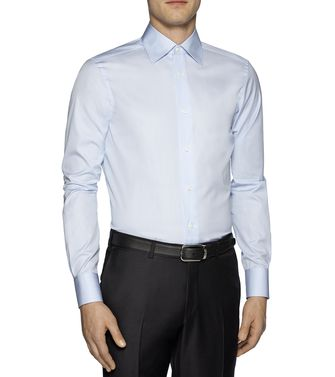 ERMENEGILDO ZEGNA: Camisa formal Gris - Marrón - 38323645WM