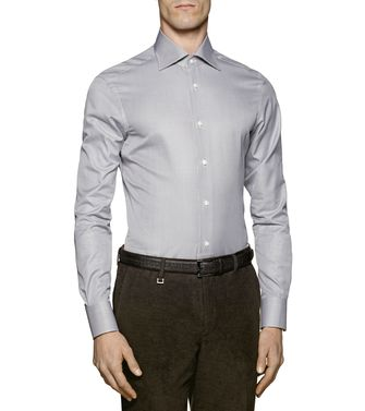 ERMENEGILDO ZEGNA: Formal Shirt Grey - Brown - 38323647GB