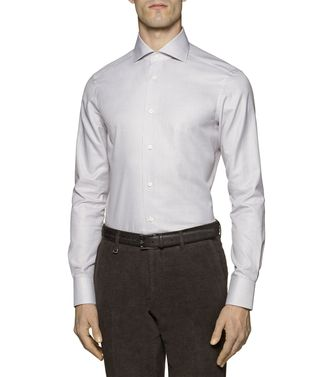 ERMENEGILDO ZEGNA: Formal Shirt Khaki - Blue - 38323650SP