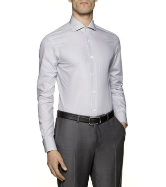 ERMENEGILDO ZEGNA: Formal Shirt Grey - Brown - 38323651IO