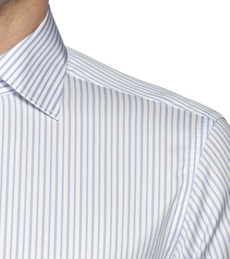 ERMENEGILDO ZEGNA: Formal Shirt Plain weave Italian collar Dual button Azure, Detail 2 - 38323652MG