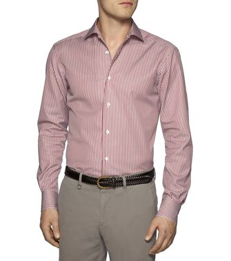 ERMENEGILDO ZEGNA: Casual Shirt Maroon - 38326981TH